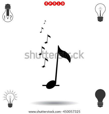 Music notes icon. Black icon on white background. - stock vector