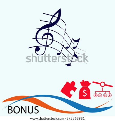 Music notes icon. Simple black vector symbol. Logo for web. Image for business.