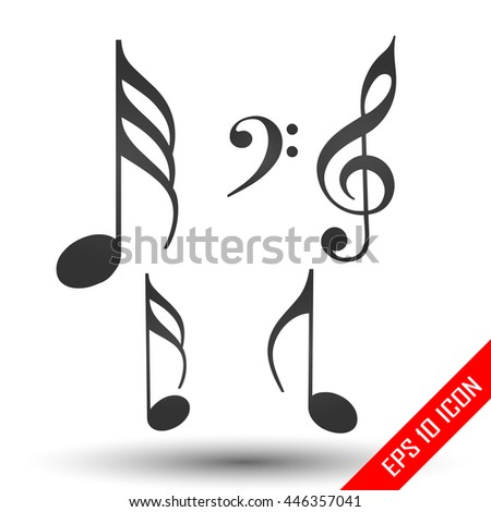 Music notes icon. Simple flat logo of music notes isolated on white background. Vector illustration. - stock vector