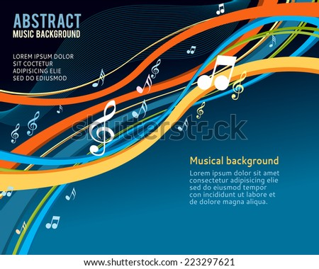 Music notes on a abstract colorful background - stock vector