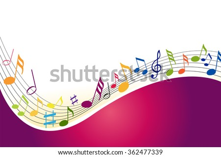 Music notes on a color background - stock vector