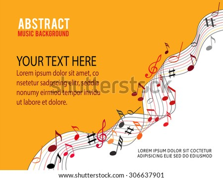 Music notes on a solid orange background - stock vector