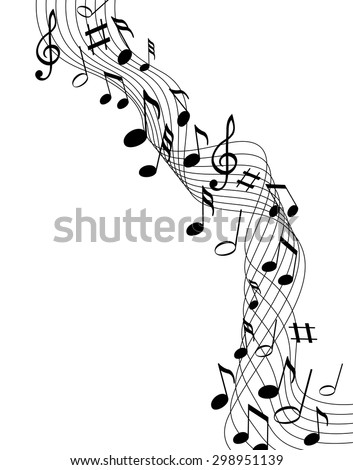 Music notes on a solide white background - stock vector