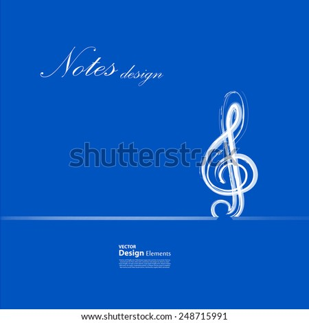 Music notes on background, easy editable - stock vector
