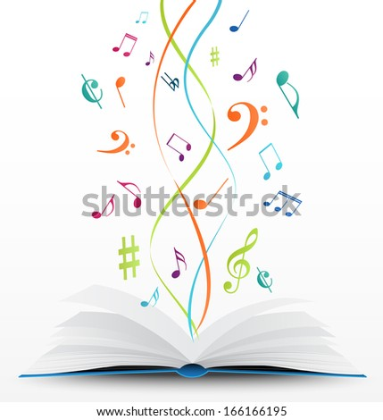 music notes on open book background - stock vector