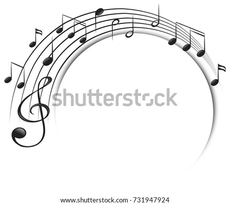 Music notes on scale illustration stock vector 731947924 for Note musicali dwg