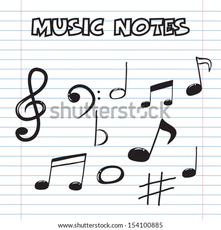 music notes on sheet paper, hand drawn style - stock vector