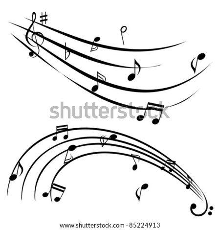 Music notes on white background - stock vector