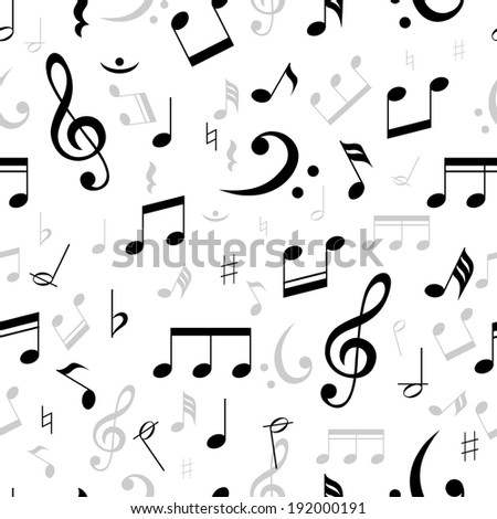 Music notes seamless pattern in black and white with scattered treble and base clefs with assorted notes in square format suitable for wallpaper  vector illustration