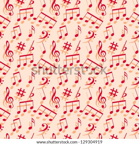 Music notes. Seamless wallpaper. - stock vector