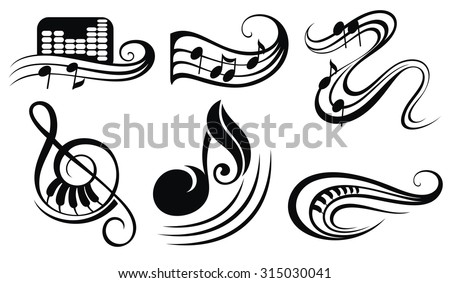 Music notes. Set of music design elements or icons - stock vector