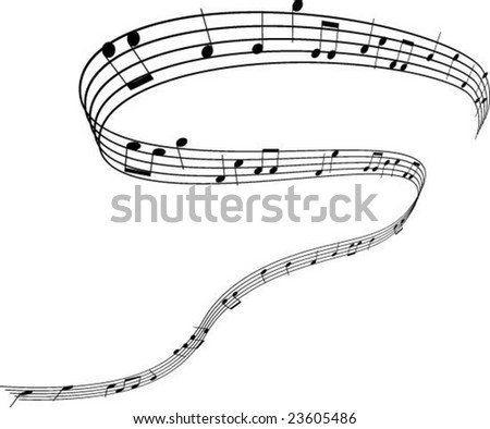 Music notes swirl - stock vector