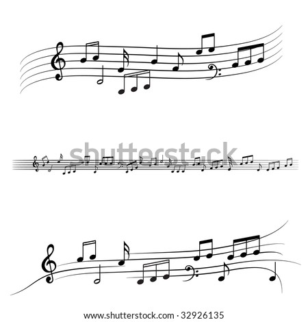 Music notes symbols on stave - stock vector