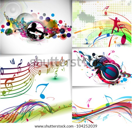 Music notes wave line for design use, vector illustration - stock vector