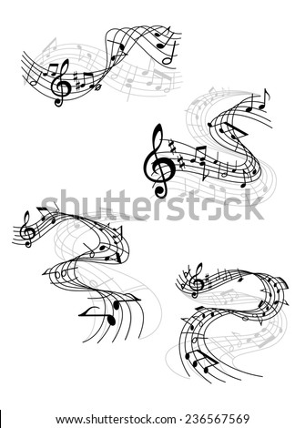 Music notes with clefs on swirling staffs or staves, abstract design - stock vector
