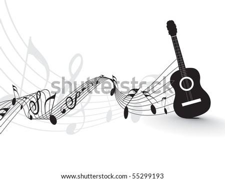 Music notes with guitar player  for design use, vector illustration - stock vector