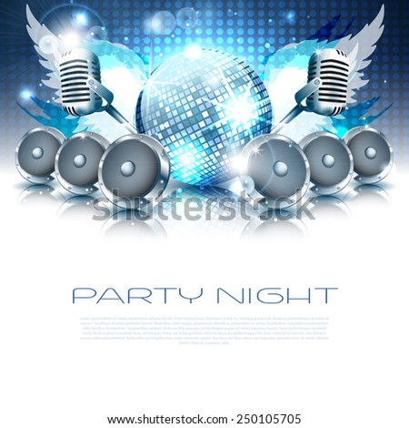 Music party background with instruments on dance floor - Vector with place for your text - stock vector