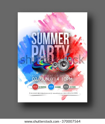Music Party Brochure Flyer Magazine Cover Stock Vector