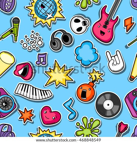 Music party kawaii seamless pattern. Musical instruments, symbols and objects in cartoon style.