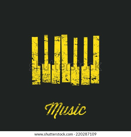 Music piano keyboard. Can be used as poster element or icon. Vector illustration. Keys without texture included in hidden layer. - stock vector