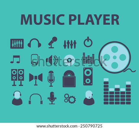 music player, audio, video flat icons, signs, illustrations design concept vector set - stock vector