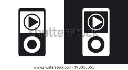 Music player icon, vector. Two-tone version on black and white background - stock vector