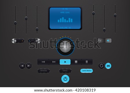 Music Player Interface, blue buttons