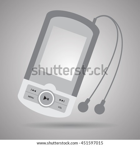 Music player with headphones.