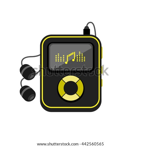 Music player with headphones icon. Vector illustration of music player flat design concept.