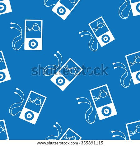 Music player with headphones seamless pattern for musical applications and web sites backgrounds - stock vector