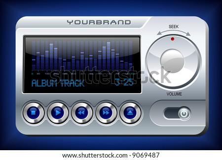 Music Player with spectrum analyzer - stock vector