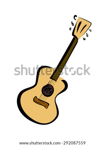 Music poster - acoustic guitar instrument vector illustration - stock vector