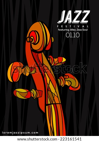 Music Poster background template. Vector violin neck illustration.  - stock vector