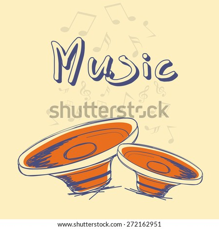Music poster, banner or flyer design decorated with speakers and musical notes on yellow background. - stock vector