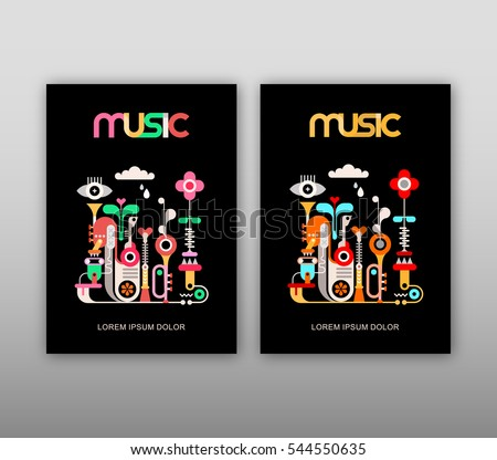 Music poster template - vector decorative text architecture. Abstract art design with musical instruments isolated on a black background.