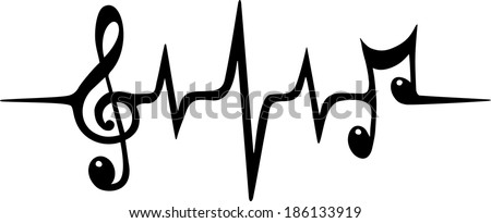 Music Pulse, Notes, Vector - stock vector