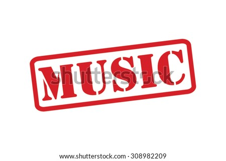 MUSIC red Rubber Stamp over a white background. - stock vector