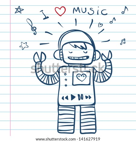 Music Robot. Vector Illustration from funny  doodles set - stock vector