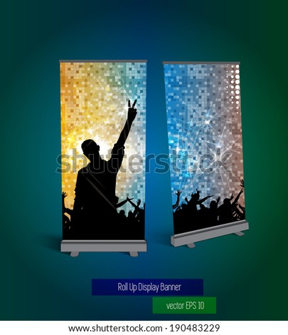 Music roll up banner - stock vector
