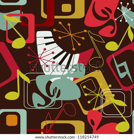 Music seamless pattern in retro style - stock vector