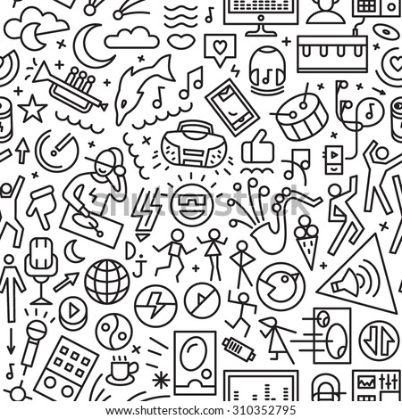 music seamless pattern with icons - stock vector