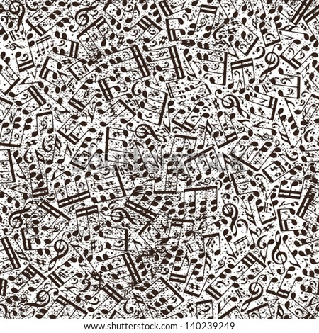 Music seamless pattern with notes and old texture, vector background. - stock vector