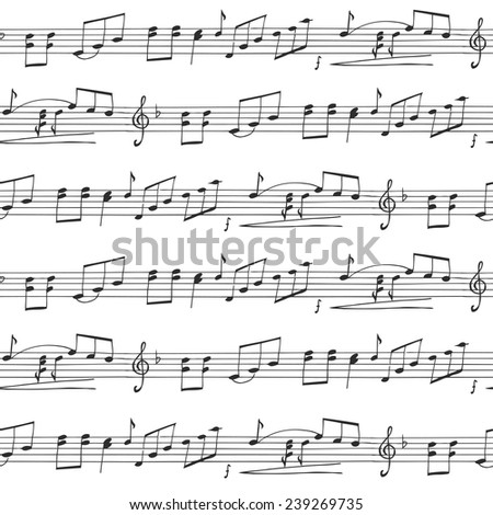 Music Seamless vector Background, black and white - stock vector
