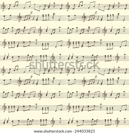 Music Seamless vector Background, hand drawn pattern - stock vector