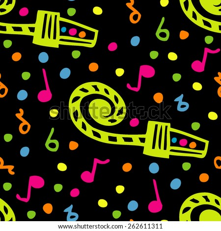 Music seamless vector Happy Birthday pattern. Music notes on black background. Hand drawn elements. Colorful. - stock vector