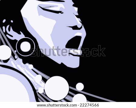 music series - jazz woman singing jazz, gospel or other portrait -cartoon style (not any particular person) - stock vector