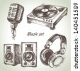 Music set. Hand drawn illustrations of Dj icons - stock photo