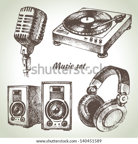 Music set. Hand drawn illustrations of Dj icons - stock vector