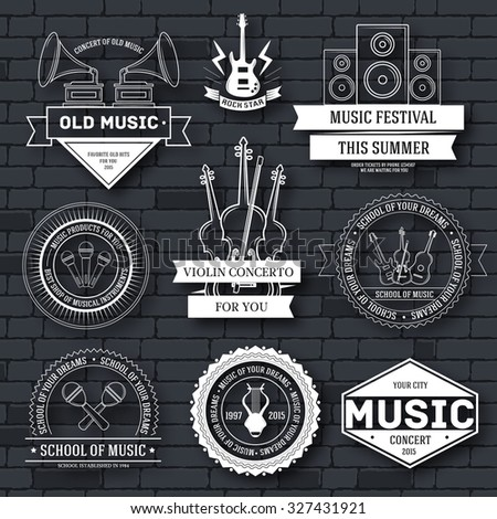 Music set label template of emblem element for your product or design, web and mobile applications with text. Vector illustration with thin lines isolated icons on stamp symbol - stock vector