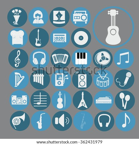 Music set vector icons. Musical instruments. Symbols.